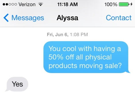 moving sale text